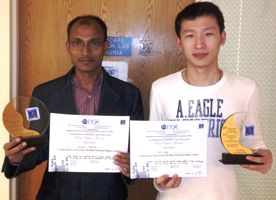 Prof. Bhunia and grduate student Lei Wang with the International Conference on VLSI Design Best Paper Award
